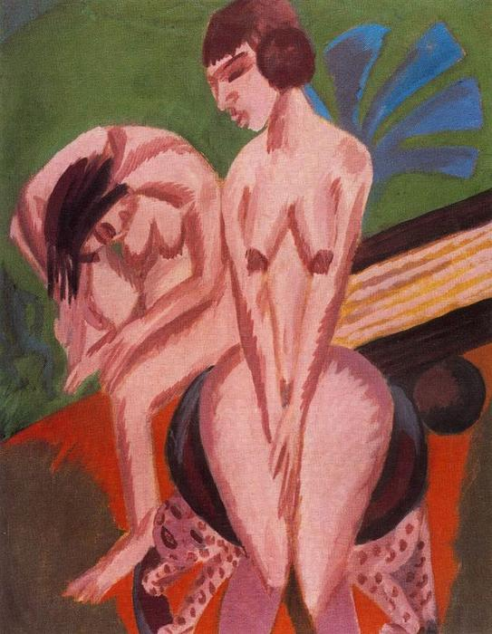 Two naked women by Ernst Ludwig Kirchner (1880-1938, Germany) | WahooArt.com