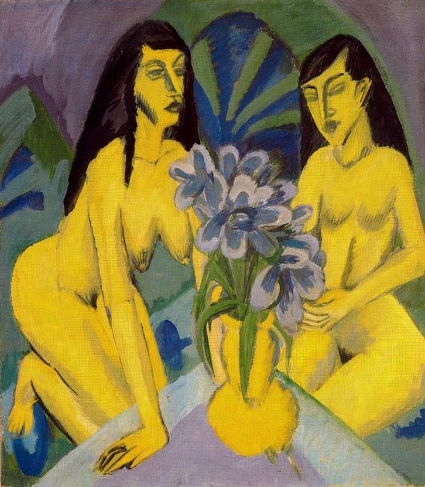 Two Nudes with yellow flowers by Ernst Ludwig Kirchner (1880-1938, Germany)