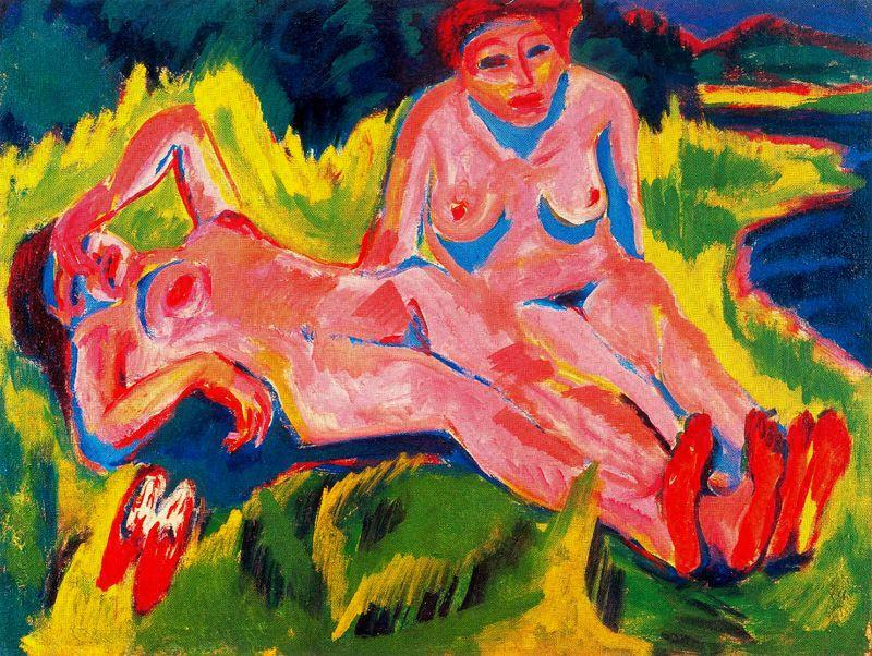 Two pink nudes by the lake by Ernst Ludwig Kirchner (1880-1938, Germany) | WahooArt.com