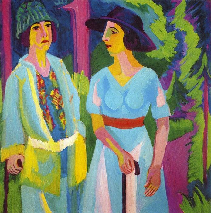 Two women in the woods, Oil, Watercolour by Ernst Ludwig Kirchner (1880-1938, Germany)