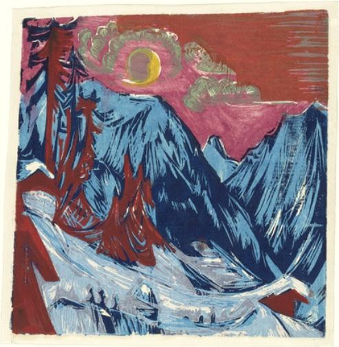 Winter Moonlit Night by Ernst Ludwig Kirchner (1880-1938, Germany)