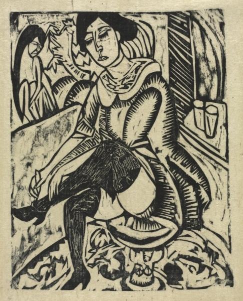 Woman Putting on Her Shoes by Ernst Ludwig Kirchner (1880-1938, Germany) | WahooArt.com