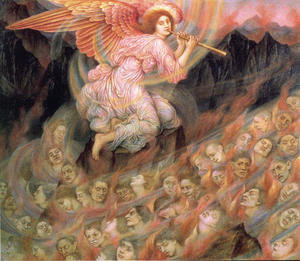 Evelyn (Pickering) De Morgan - Angel Piping to the Souls in Hell