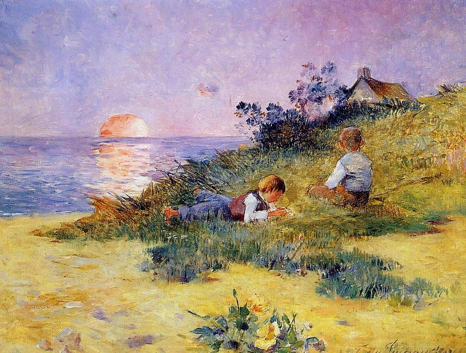 Children on a Dune, 1890 by Ferdinand Du Puigaudeau (1864-1930, France) | Museum Quality Reproductions | WahooArt.com
