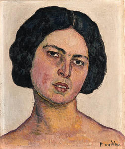 Ferdinand Hodler - Woman's head on a yellow background