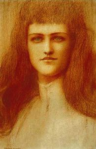 Fernand Edmond Jean Marie Khnopff - Head of a young English Girl