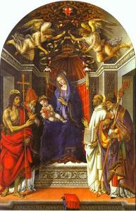 Filippino Lippi - Madonna and Child Enthroned with St John the Baptist, St Victor, St Bernard and St Zenobius