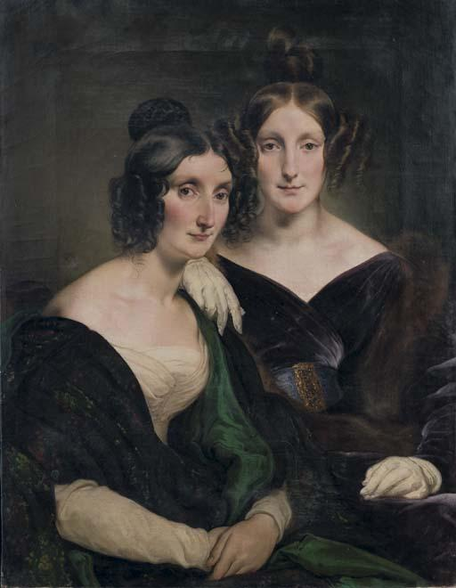 Order Reproductions | Portrait of Sir Carolina Grassi and Bignami White, sisters Gabrini by Francesco Hayez (1791-1882, Italy) | WahooArt.com