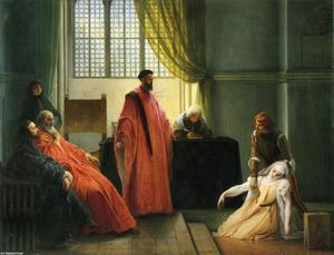Order Famous Paintings Reproductions : Valenza Gradenigo before the Inquisitor by Francesco Hayez (1791-1882, Italy) | WahooArt.com