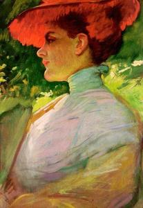 Frank Duveneck - Lady with a Red Hat