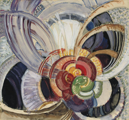 Autour d'un point by Frantisek Kupka (1871-1957, Czech Republic)
