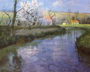 Frits Thaulow - A French River Landscape