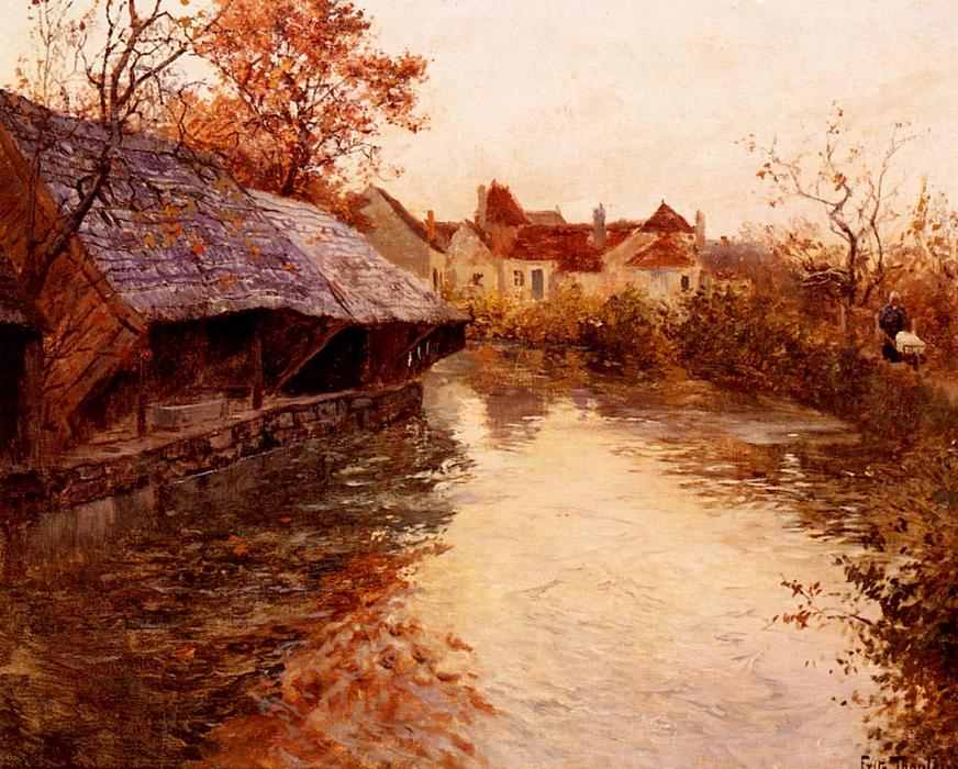 A Morning River Scene, 1891 by Frits Thaulow (1847-1906, Norway) | Oil Painting | WahooArt.com