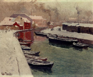 Frits Thaulow - A Snowy Harbor View