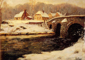 Frits Thaulow - A Stone Bridge Over a Stream in Winter