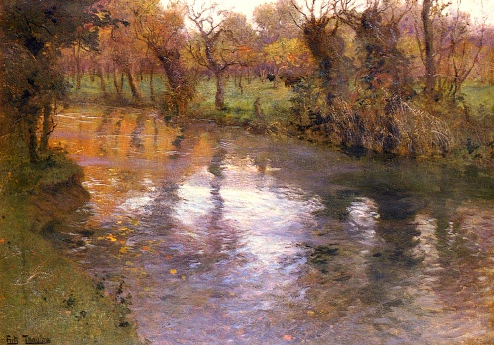An Orchard on the Banks of a River by Frits Thaulow (1847-1906, Norway) | Famous Paintings Reproductions | WahooArt.com