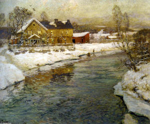 Frits Thaulow - Cottage by a Canal in the Snow