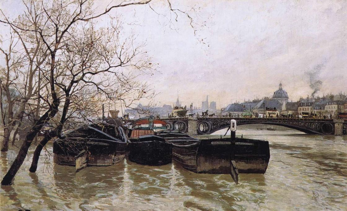 Flooding by the Seine, 1893 by Frits Thaulow (1847-1906, Norway) | Painting Copy | WahooArt.com
