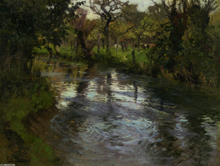On the Banks by Frits Thaulow (1847-1906, Norway) | Famous Paintings Reproductions | WahooArt.com