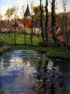Frits Thaulow - The Old Church by the River