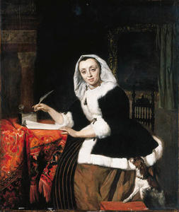 Gabriel Metsu - An elegant lady writing at her desk, with a dog beside her