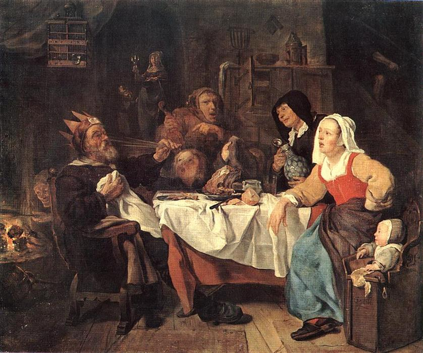 Order Museum Quality Copies | The Feast of the Bean King, 1655 by Gabriel Metsu (1629-1667, Netherlands) | WahooArt.com