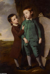 George Romney - Portrait Of Two Boys With A Kite