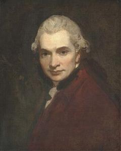 George Romney - Self-portrait, bust-length, in a red coat