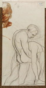 George Romney - Study of nude male carrying a woman