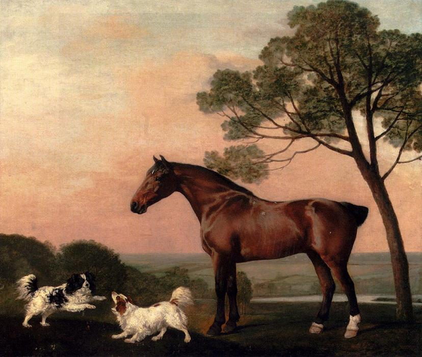 A Bay Hunter With Two Spaniels, 1777 by George Stubbs (1724-1806, United Kingdom) | Paintings Reproductions George Stubbs | WahooArt.com