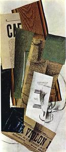 Georges Braque - Glass Carafe and Newspapers