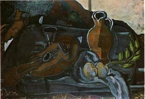 Georges Braque - Mandolin, Glass, Pot and Fruit