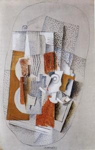 Georges Braque - Still-Life With A Violin, Glass And Pipe On Table