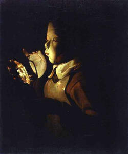 Georges De La Tour - Boy blowing at a Lamp