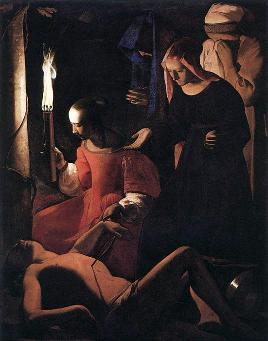 St Sebastian Attended by St Irene by Georges De La Tour (1593-1652, France) | WahooArt.com
