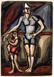 Georges Rouault - Clown and Dwarf, from the series Cirque de l'Etoile filante