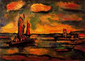Georges Rouault - Fishing boats with sun
