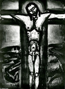 Georges Rouault - Jesus on the cross as forgotten there