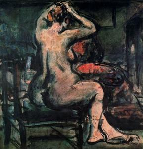 Georges Rouault - Nude with arms raised (combed)