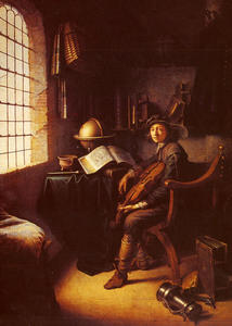 Gerrit (Gérard) Dou - An Interior with a Young Violinist