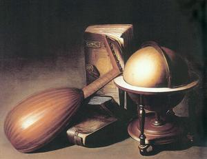 Gerrit (Gérard) Dou - Still Life with Globe, Lute, and Books