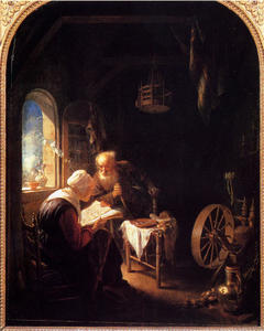 Gerrit (Gérard) Dou - The Bible Lesson, Or Anne And Tobias