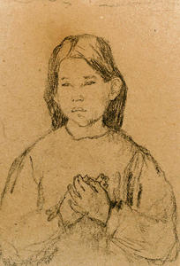 Gwen John - Half Length of a Girl with clasped Hands