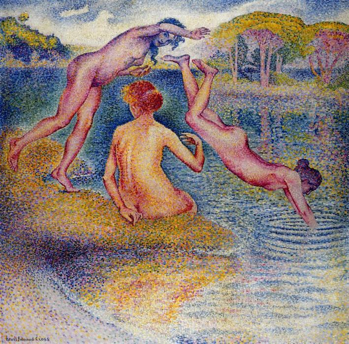 Order Museum Quality Reproductions : Bathers 3 by Henri Edmond Cross (1856-1910, France) | WahooArt.com
