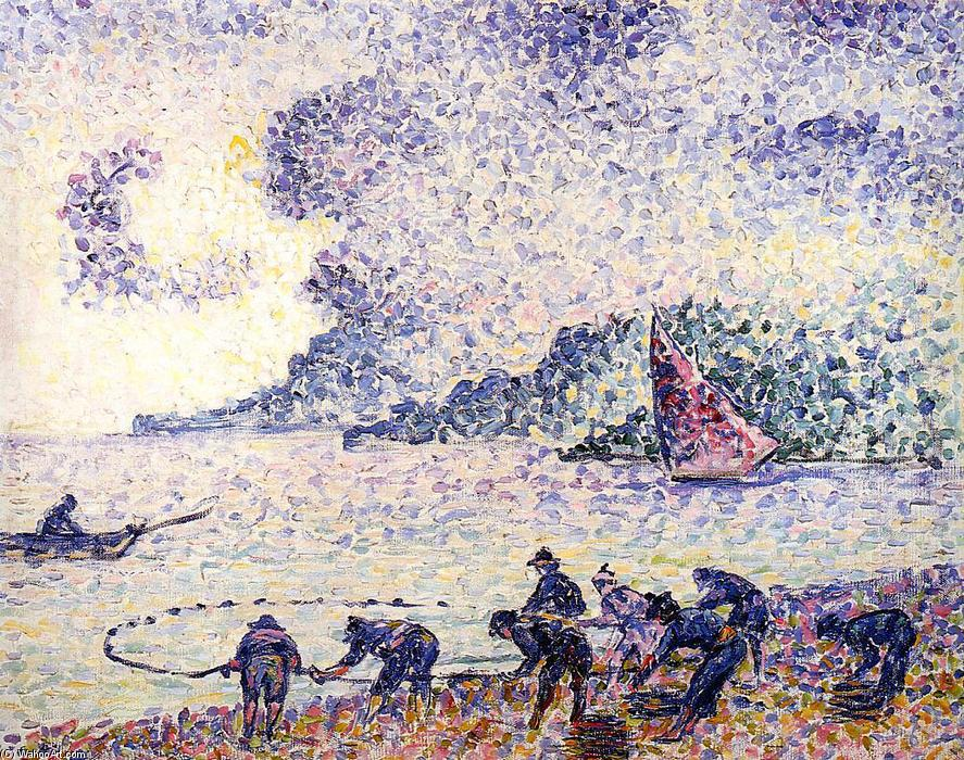 Fisherman, 1895 by Henri Edmond Cross (1856-1910, France) | Oil Painting | WahooArt.com