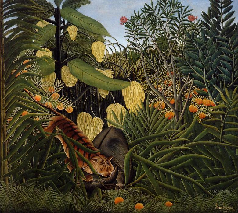 Fight between a Tiger and a Buffalo, Oil On Canvas by Henri Julien Félix Rousseau (Le Douanier)