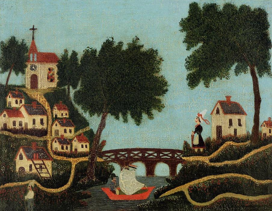 Landscape with Bridge, Oil On Canvas by Henri Julien Félix Rousseau (Le Douanier)