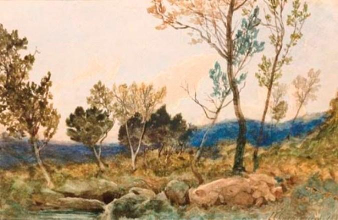 A landscape with trees and rocks in the foreground by Henri-Joseph Harpignies (1819-1916, France) | Painting Copy | WahooArt.com