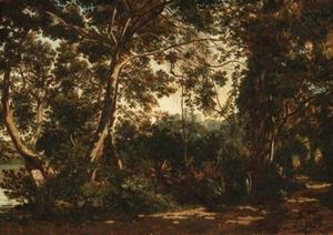 Henri-Joseph Harpignies - A wooded forest with a town beyond