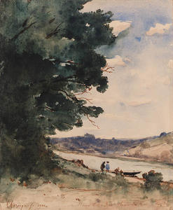 Henri-Joseph Harpignies - On the riverbank